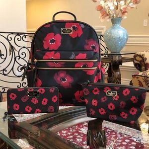 Kate spade poppy backpack&wallet& cosmetic case